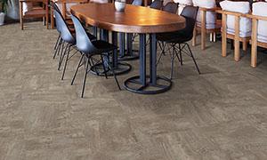 Table setting on plush carpet.